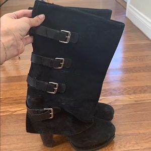 REPORT Monroe Black Leather Mid-Calf Boots sz 10